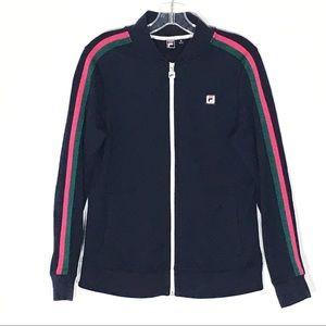 Fila Sport Jacket Size M Dark Blue w Stripes